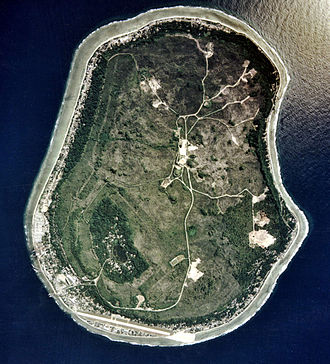 Geography of Nauru - An aerial image of Nauru in 2002 from the U.S. Department of Energy's Atmospheric Radiation Measurement Program. Regenerated vegetation covers 63% of land that was mined.