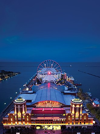 Streeterville - Aerial View of Navy Pier at Night