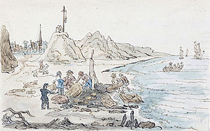 Nehalennia - Illustration of the discovery of a Nehalennia temple in 1647 in Domburg, Netherlands by A.C. Bonn, 1805