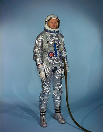 Armstrong in an early Gemini spacesuit Neil Armstrong in Gemini G-2C training suit.jpg