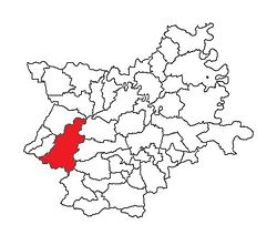 Location of Našice in Osijek-Baranja County