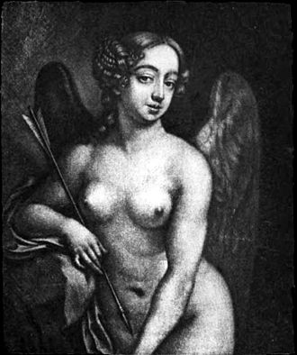 Nell Gwyn - Nell Gwyn as Cupid c. 1672; engraving by Richard Thomson, of a painting by Peter Cross. Pepys owned a copy of this engraving and displayed it over his desk at the Admiralty.