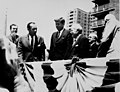 Nelson Rockefeller, Mayor Robert Wagner, President John F. Kennedy, David Dubinsky, George Meany, and others at the dedication of ILGWU Cooperative Housing, 1962 (5279075322).jpg