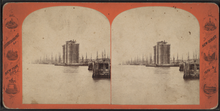 Stereoscopic views of the construction of the Manhattan tower
