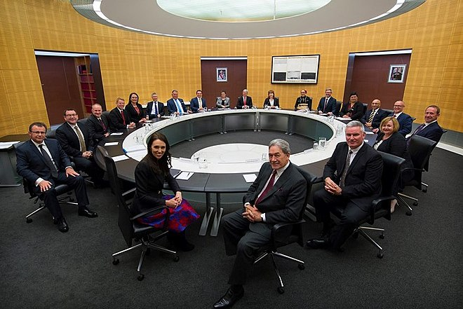 First meeting of the Cabinet of the Sixth Labour Government of New Zealand, 26 October 2017 New Zealand Cabinet October 2017.jpg