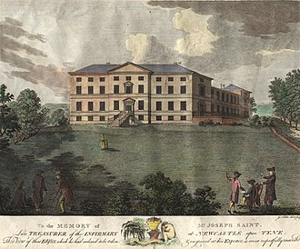 Royal Victoria Infirmary - Print of the old Newcastle upon Tyne Infirmary at Forth Banks in 1786