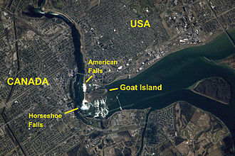 Goat Island (New York) - Image: Niagara Falls from space (labeled)