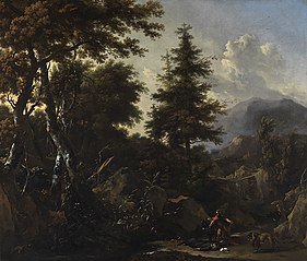Mountain landscape with figures from the old testament