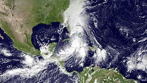 Tropical Storm Nicole (2010) - Nicole over Jamaica, Cuba and the Bahamas on September 29