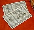 Norges Bank sedler En krone 1943 Norske pengesedler fra andre verdenskrig Norwegian banknotes Arquebus krigshistorisk museum War History Tysvær Norway 2020-06 08751.jpg