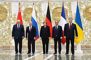 Belarus - Leaders of Belarus, Russia, Germany, France, and Ukraine at the summit in Minsk, 11–12 February 2015