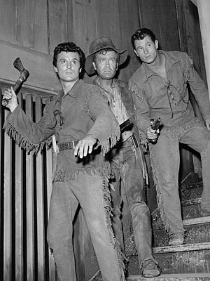 Keith Larsen - Cast of Northwest Passage (TV series) (1958). L-R: Keith Larsen, Buddy Ebsen and Don Burnett.