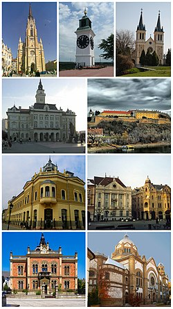 Photo montage of Novi Sad (The Name of Mary Church, Petrovaradin Clock Tower, The Our Lady of Snow ecumenic Church, Town Hall, Petrovaradin Fortress, Building of the Matica srpska, Liberty Square, Bishop Palace, Novi Sad Synagogue)