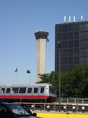 O'Hare International Airport - Airport Transit System with Hilton Hotel in Background