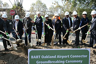 Carole Ward Allen - Left, Ronald V. Dellums, (Center) Ward Allen, James Fang, and Sandre Swanson at the groundbreaking of the Oakland Airport Connector in 2010.