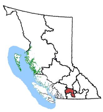 Okanagan—Coquihalla - Okanagan—Coquihalla in relation to other British Columbia federal electoral districts