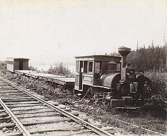 Temiskaming Shores - Old narrow gauge train at Haileybury, 1889