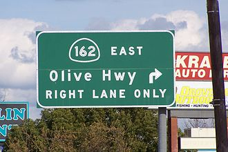 California State Route 162 - SR 162 turns right, (SE), onto Olive Highway as it leaves Oroville