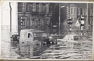 Omagh - One of the major floods of 1969, shown here on Drumragh Avenue.