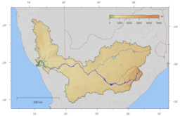 The course and watershed of the Orange River. This map shows a conservative border for the watershed. Specifically, the Kalahari basin is excluded, as some sources say it is endorheic. Some other sources using computational methods show a basin which includes parts of Botswana (and hence of the Kalahari).