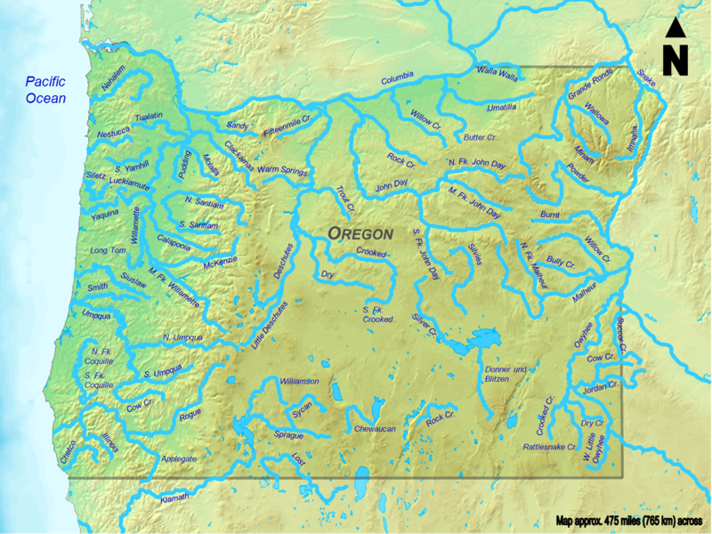 Clickable map of all Oregon streams more than 50 miles (80 kilometers) long