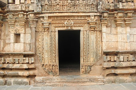 Ornate entrance to the closed hall from the south at Kalleshvara Temple at Bagali.