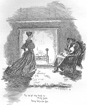 Cross-dressing in literature - Mr. Rochester disguised as a Gypsy woman sitting at the fireplace. Illustration by F. H. Townsend in the second edition of Charlotte Brontë's 1847 novel Jane Eyre.