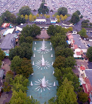 Kings Dominion - The park entrance as seen from the observation deck of the replica Eiffel Tower