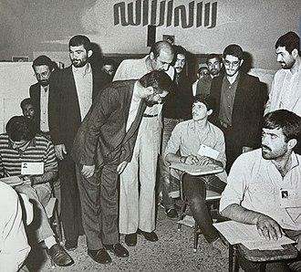 Iranian University Entrance Exam - Prime Minister Mousavi visits a center of Iranian University Entrance Exam, June 1985.