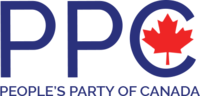 "Former logo of the People's Party of Canada including the abbreviation and full name of the party. The maple leaf is displayed inside the ""C"" in PPC."