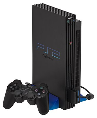 PlayStation 2, the first video game console to run DVDs. PS2-Fat-Console-Set.jpg