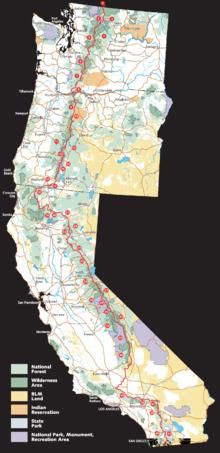 pacific crest trail  Karte zum Verlauf d...