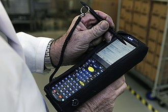 Barcode reader - A large multifunction barcode scanner being used to monitor the transportation of packages of radioactive pharmaceuticals