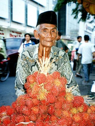 Rambutan - Javanese rambutan seller in Semarang, Indonesia.