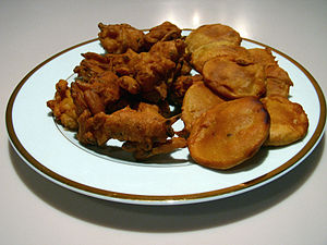 A plate of onion and potato pakoras