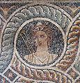 Palazzo dei gran maestri di rodi, sala delle muse, mosaico delle nove muse da kos 02 euterpe.JPG