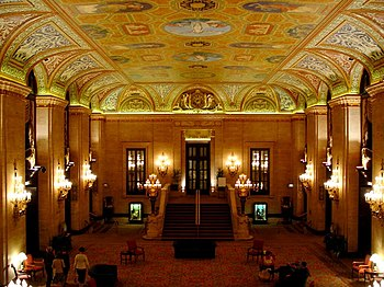 Interior of Palmer House Hilton in Chicago, USA