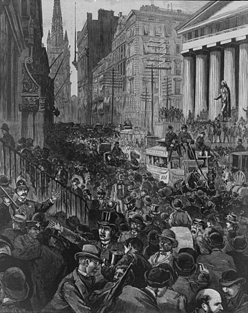 Wall Street on the morning of 14 May during the Panic of 1884. Panic of 1884.jpg