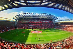 Anfield - Image: Panorama of Anfield with new main stand (29676137824)