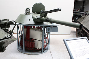 2A28 Grom - Detailed view of a BMP-1 turret showing the 73 mm gun tube of the 2A28