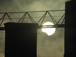 Partial solar eclipse December 14 2001 Minneapolis.jpg