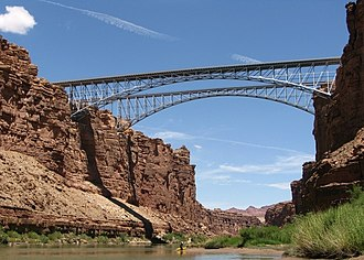 Navajo Bridge - A view of the bridges and Marble Canyon from the Colorado River