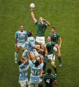 Paul O'Connell reaching for the ball during a line out against Argentina in 2007. Paul O'Connell Ireland Rugby.jpg