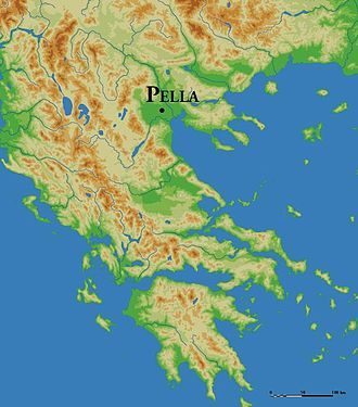 Pella - Map showing the geographic location of Pella in a valley, west of river Axios.
