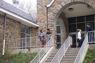 Penn State Abington - Students make their way in and out of the Lares Building at Penn State Abington, during Common Break on April 22, 2003.