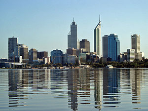 The Perth skyline viewed from the Swan River