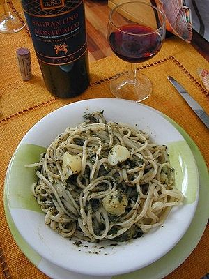 Pasta with pesto sauce, a traditional Ligurian...