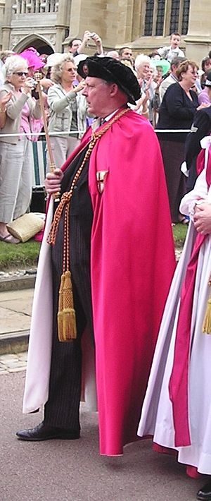 Peter Gwynn-Jones - Gwynn-Jones, in his capacity as Garter Principal King of Arms, taking part in the Garter Day procession at Windsor Castle.
