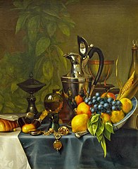 Still life with fruit and silver can