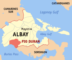 Map of Albay with Pio Duran highlighted